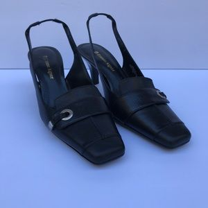 Etienne Aigner black leather sling backs